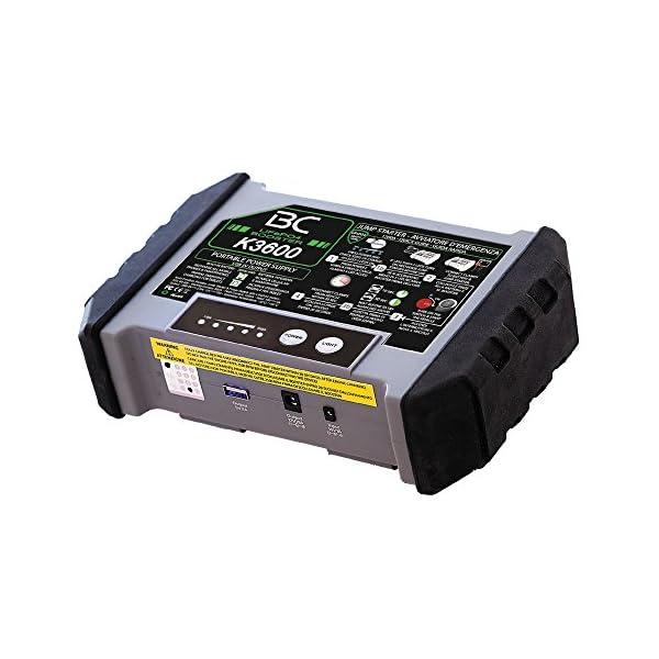 BC Booster K3600-12V 1200A – Arrancador de Emergencia para Coche y Moto + Batería Portátil con USB 20000 mAh para Smartphones y Tabletas + Antorcha LED SOS
