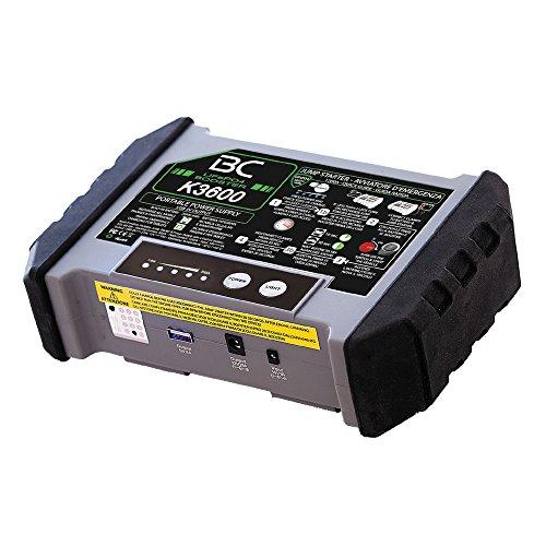 BC BOOSTER K3600 - 12V 1200A - Starthilfe-Booster für Auto und Motorrad + Tragbarer USB Power Bank 20000mAh für Smartphones und Tablets + LED-Taschenlampe