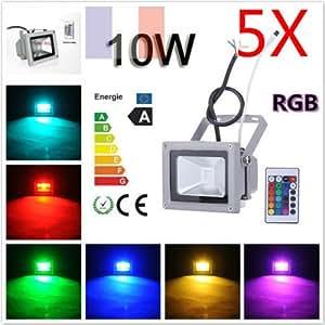 MVPower® 5St. 10W RGB LED Strahler Wasserdicht IP65 In- und Outdoor mit Fernbedienung mit Fernbedienung & Memory Funktion 16 Farbe LED-Fluter Scheinwerfer Außenbeleuchtung