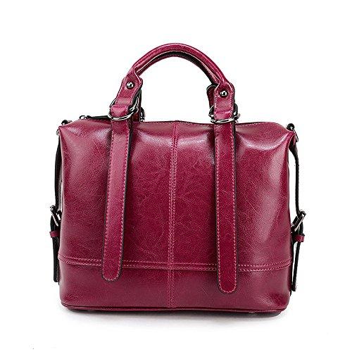 Xinmaoyuan Borse donna borsette in cuoio cera olio Vacchetta Borsa retrò borsa tracolla singola Messenger Bag,viola - Goffratura Cera