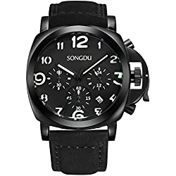 SONGDU Men's Chronograph Watches Date Analog with Luminous Arabic Numeral Dial and Black Leather Strap