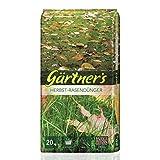 Gärtner's Herbstrasendünger 20 kg I Rasen düngen mit Extraportion Kalium I NPK Dünger Rasen und Gehölze I Organisch-Mineralischer Spezialdünger I NPK Dünger 5+5+10 I Für bis zu 650 m²