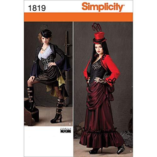 Simplicity Muster 1819R5Schnittmuster Steampunk Kostüm Größe, 14-16-18-20-22