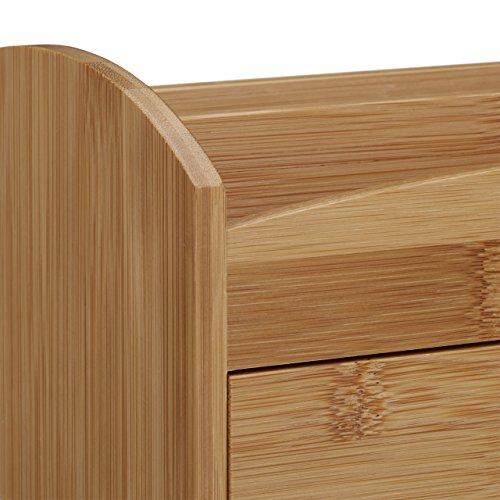 Relaxdays Schreibtischorganizer aus Bambus, Multiköcher mit 4 Fächern und Schublade, natürliche Maserung, HBT: ca. 11 x 27,5 x 15 cm, natur - 5