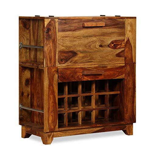 ROMELAREU Barschrank Sheesham Holz Massiv 85x40x95 cm Möbel Schränke Hausbars