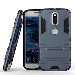 Relax&Shop GREY Military Grade Armor With Kick Stand Version 2.0 Hybrid Back Cover Case for Moto G4 Plus,(Blue)