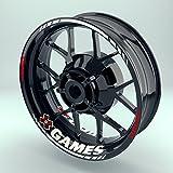 Felgenaufkleber Set XGames für Motorrad   17 Zoll   Felgenrandaufkleber & Felgenbettaufkleber   Vorder- & Hinterreifen Komplett-Set (Einfach - glänzend)