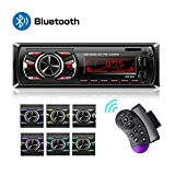 Hoidokly 1 Din Autoradio Bluetooth, 60W x 4 Stereo Auto Audio Ricevitore FM 2 USB, Lettore MP3 MMC/FM/MP3/USB/SD/AUX, 7 Colori LED, Telecomando