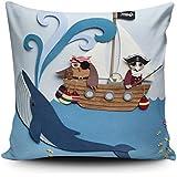 Cojín, cojín de pirata de guardería, guardería, los niños de gato almohada, de búho y la funda de almohada, de los niños de almohada, 18x 18inch