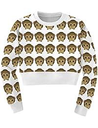 Ninimour Mitad Sudaderas estampado Emoji de mangas largas Thicken Print Sweatshirt Hoodies Pullovers