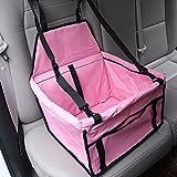 AGIA TEX Auto-Hundesitz für kleine Hunde Autositz-Hund 40x30x25 cm wasserfest sicherer Transport für Hunde / Haustier auf Rückbank und Vorderbank Farbe Rosa
