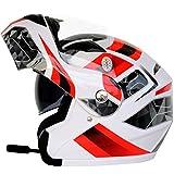 Erwachsene Bluetooth Moto Motorradhelm Antifogging Dual Lens Flip Up Helme Offroad Motocross Schutzkappen Schwarze Blume XL