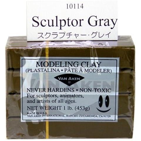 Van Aken Plastalina Modeling Clay sculptor gray 1 lb. bar by Van (Bar Van)