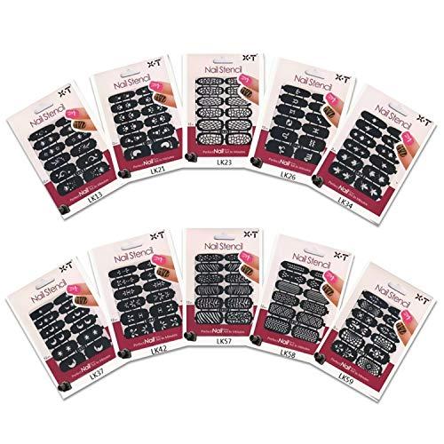 Airbrush Fingernagel Schablonen Set für Airbrush Kompressor mit Pistole und Beauty Nail Art (10-er Set selbstklebende Fingernagel-Schablonen)