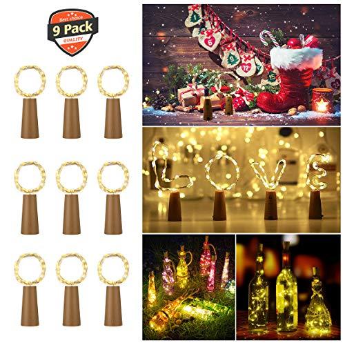 LED Flaschen-Licht, 9x 20 LED Flaschenlichter Lichterketten Nacht Licht Weinflasche Kork Flaschen Licht Lichterkette Flaschen DIY 79 Inch [ Warm-weiß] Für Hochzeit Party Romantische Deko - OUTERDO