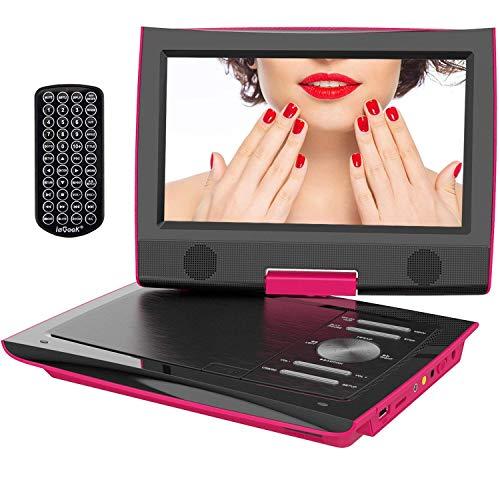 """ieGeek 11.4"""" Tragbarer DVD-Player mit 9"""" Schwenkbildschirm, 5 Stunden Akku Drehbarem Display, AV Out/IN, SD-Karte, USB (Pink)"""