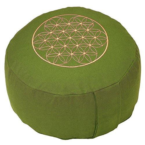 meditationskissen-rondo-basic-mit-stick-blume-des-lebens-dinkel-fullung-bezug-aus-100-baumwolle-oliv
