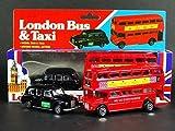 Londra Red Double Decker Bus e Black Taxi Die Cast modello con ruote in movimento (Small)