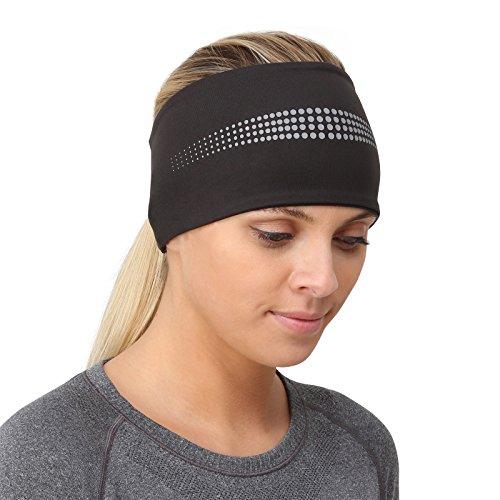 TrailHeads Stirnband für Damen/Ohrenwärmer mit Pferdeschwanzöffnung und Reflektierenden Nähten - Adrenaline Series - schwarz/Reflexionsfarbe