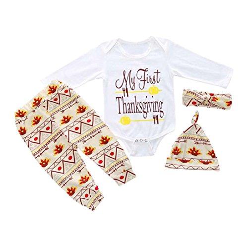 Hunpta Danksagung Baby Baby Boy Girl Outfits Kleidung Strampler Hose Leggings 4PCS Set (85CM, Weiß)