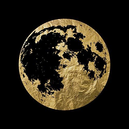 Queence   Acrylglasbild mit Blattgold   Wandbild Glasbild Acrylbild Rahmenlos   Mond   Druck auf Acrylglas   Goldveredelung   Größe: 50x50 cm