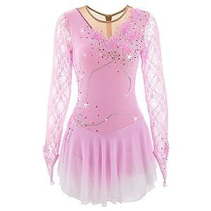 Heart&M Eiskunstlauf Kleid für Mädchen, Handgemachte Rollschuhkleid Wettbewerb Kostüm für Frauen langärmelige Spitze Applique Skating Dress Pink
