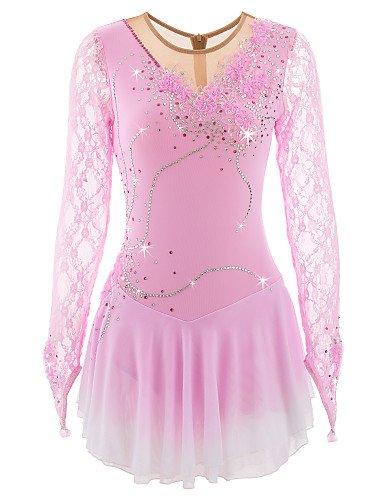 Heart&M Eiskunstlauf Kleid für Mädchen, handgemachte Rollschuhkleid Wettbewerb Kostüm für Frauen langärmelige Spitze Applique Skating Dress Pink, 10 - 10 Applique