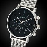 Gigandet Herren-Armbanduhr Minimalism Quarz Chronograph Uhr Datum Analog Edelstahlarmband Schwarz Silber G32-006 - 3