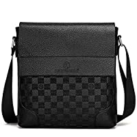 RUISSEN Elegant Men Leather Shoulder Bag Messenger Business Bag Crossbody Tote Satchel Sling Travel Bag Handbag (Black)