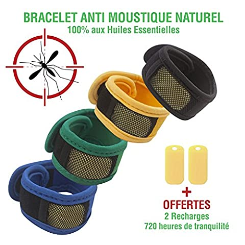 Bracelet anti-moustique nouvelle méthode de diffusion nano-technologique avec 2 recharges 100% naturel – Bracelet ajustable (scratch) en néoprène - Frenchy Prime (vert)