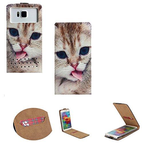 Handy Hülle für - Phicomm Clue 2s- Flip Tasche mit Kreditkartenfach - Flip Nano M Katze 2
