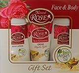 """NATURAL ROSE Geschenkbox """"Gesicht und Körper"""" mit Rosenextrakt und Bio-Arganöl - Antifalten Tages u. Nachtcreme, Bodylotion und Shampoon"""