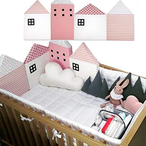 Protector cuna,Baby Cot Bumper Wrap Around Protección para la cama del bebé con Head Guard 100%...