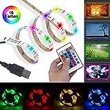 TV Hintergrundbeleuchtung LED - Beinhome TV LED Beleuchtung USB, 24 Tasten Fernbedienung, 16 Farben, 60 LEDs, Stimmungslicht für TV und Raumdekoration (2m)