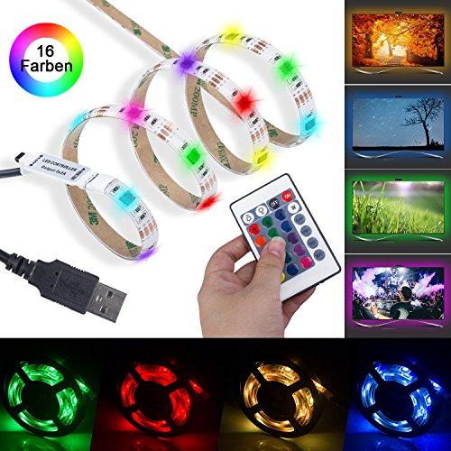 LED TV Hintergrundbeleuchtung - Beinhome 1M USB RGB TV LED Hintergrundbeleuchtung mit 16 Farben Fernbedienung und für 40 bis 50 Zoll HDTV, TV Bildschirm und PC Monitor, MEHRWEG