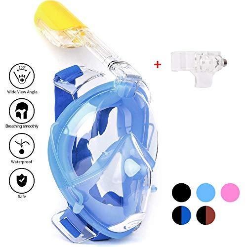 Schnorchel Maske 180° Grad Panorama Vollgesichts, Frei Atmen Design, Schnorchel Maske Tauchmaske, Antibeschlag und Anti-Leck, 2 eingebaute Atemschläuche Eingebaute Ohrstöpsel (Blau, S-M)