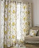 Riva Home Rosemoor Blumen-Vorhang mit Ösen, Baumwolle, Ocker, 66