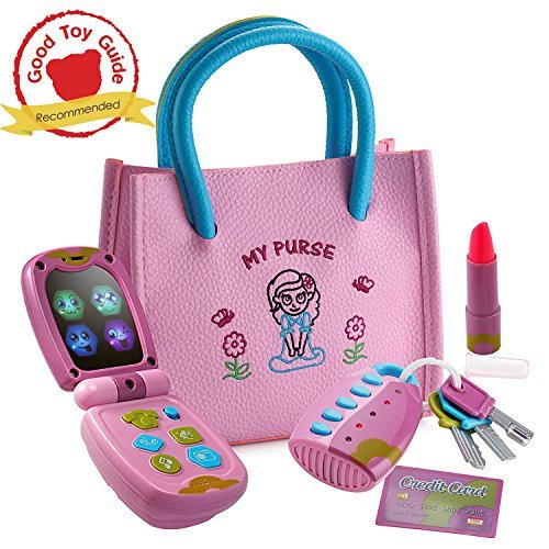 rse - Pretend Play Kid Purse Set for Girls with Handbag, Flip Phone, Light Up Remote with Keys, Play Lipstick & Kids Credit Card - Great Educational Toy for Fun & Learning ()