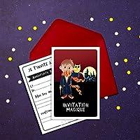 6 Miniz Invit' et enveloppes - Invitation anniversaire Magic le magicien (en français)