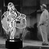 MARILYN Memorial MONROE Visual Licht 3D Lampen MONROE Gifts Optische Täuschung LED Lights 7Farben ändern LED Schreibtisch Tisch Night Lights für Kinder Erwachsene Schlafzimmer Wohnzimmer Home Dekoration Creative Geschenke
