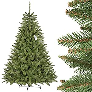 FairyTrees Christmas tree artificial NATURAL SPRUCE, green trunk, PVC material, metal stand, 6ft / 180cm