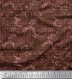 Soimoi Braun Seide Stoff Textur & griechische Schlüssel