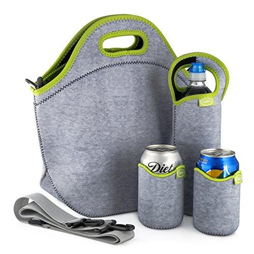 Großes Neopren-Lunchpaket-Set: Extra große und dicke isolierte Box + Schultergurt + Flaschenkühler + 2 Dosen-Kühler - waschbar - wiederverwendbar | Für Lunchpakete zu arbeiten oder Schule (graues Grün (Executive Tote-taschen)