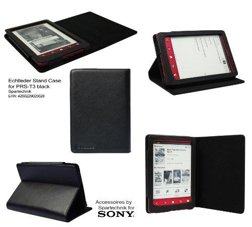 Spartechnik Echtleder PRS-T3 Tasche: Beste STCase Rindsledertasche für Sony PRS T3 - Luxus Cow Leather ebook Case - Ledertasche mit integriertem Ständer - Black schwarz - Für Sony Ebooks Reader