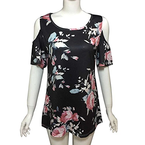 Longra Donna T-shirt a maniche corte senza maniche con maniche corte Nero
