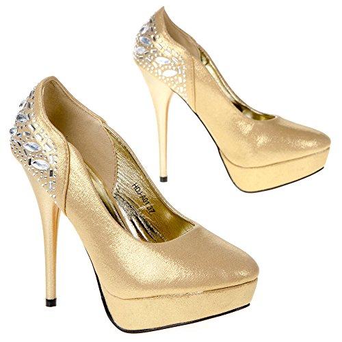 Ital-Design hdj-a01Chaussures de Court pour Femme Or - Gold HDJ-A01