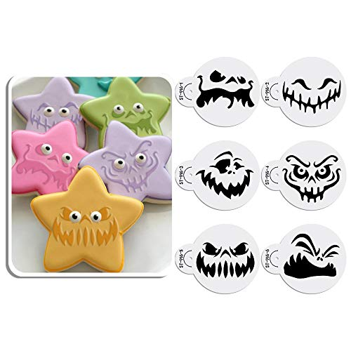 ück Happy Halloween Ghost Gesicht Keksschablonen Kuchen Dekoration Schablonen Set für Backwaren 6 Stück 7 cm ()