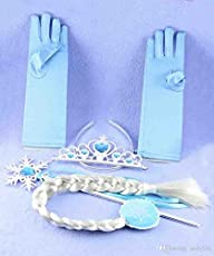 My Party Suppliers Princess Elsa Anna Crown, Hairband, Magic Wand, Wig And Gloves For Kids