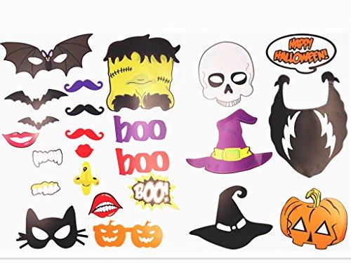JZK® 22 x Papier Fotosession Photo Booth Selfie Props Deko Accessoires für Halloween, Geburtstag, Party, Weihnachten, Neujahr oder verschiedene Gelegenheiten
