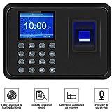 CHYU Maquina Asistencia Empleados de Fichar Huella Dactilar, 100.000 Registros, Relojes para Fichar de Sistema Española, 2.4 Pulgadas de Biometrico Huella (Negro)